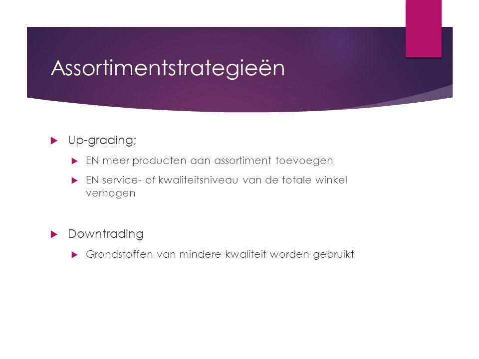 Assortimentstrategieën  Up-grading;  EN meer producten aan assortiment toevoegen  EN service- of kwaliteitsniveau van de totale winkel verhogen  D