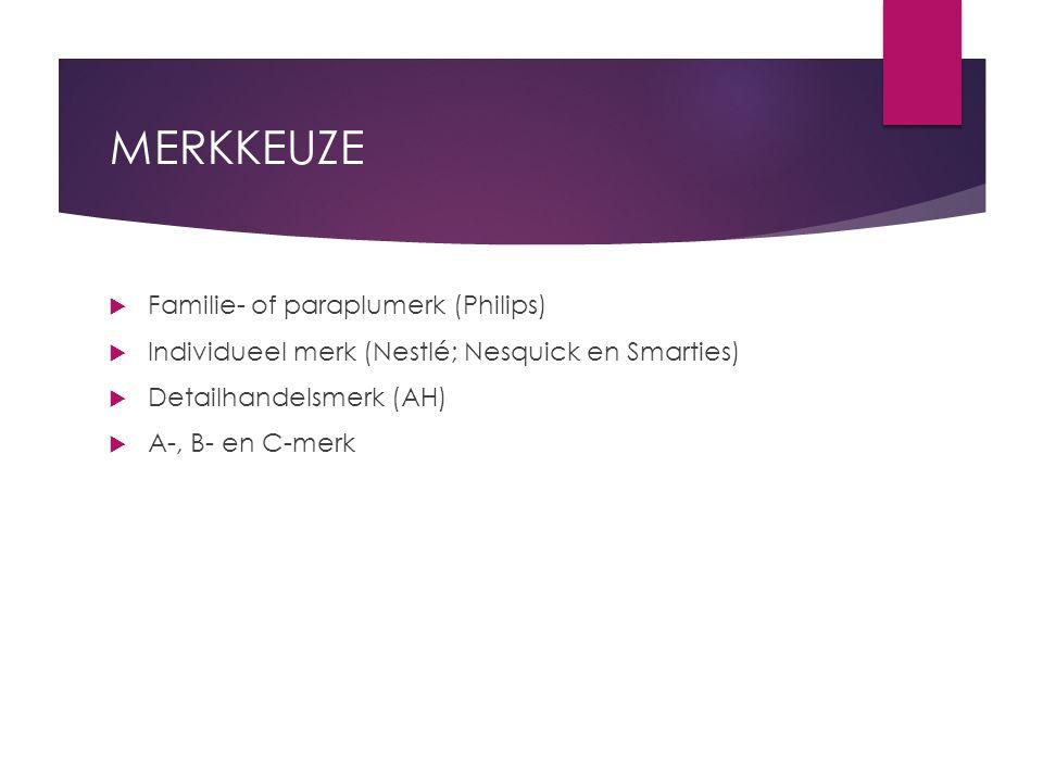 MERKKEUZE  Familie- of paraplumerk (Philips)  Individueel merk (Nestlé; Nesquick en Smarties)  Detailhandelsmerk (AH)  A-, B- en C-merk