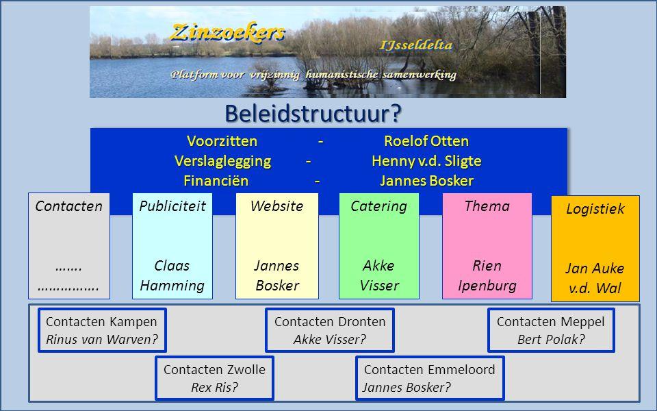 Beleidstructuur. Voorzitten-Roelof Otten Verslaglegging-Henny v.d.