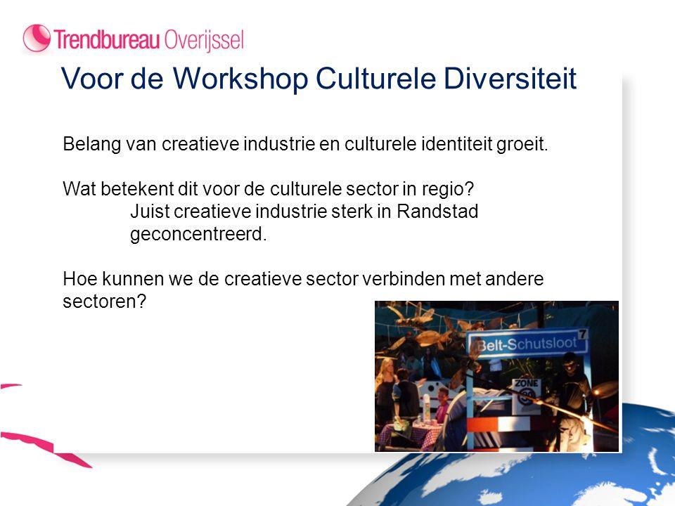 Voor de Workshop Culturele Diversiteit Belang van creatieve industrie en culturele identiteit groeit.
