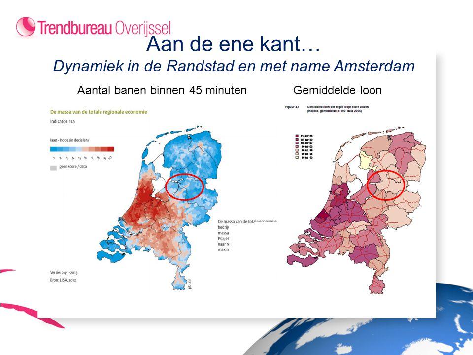 Aan de ene kant… Dynamiek in de Randstad en met name Amsterdam Aantal banen binnen 45 minutenGemiddelde loon