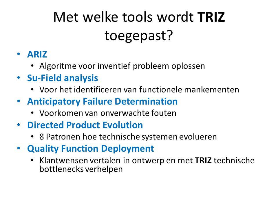 Met welke tools wordt TRIZ toegepast? ARIZ Algoritme voor inventief probleem oplossen Su-Field analysis Voor het identificeren van functionele mankeme