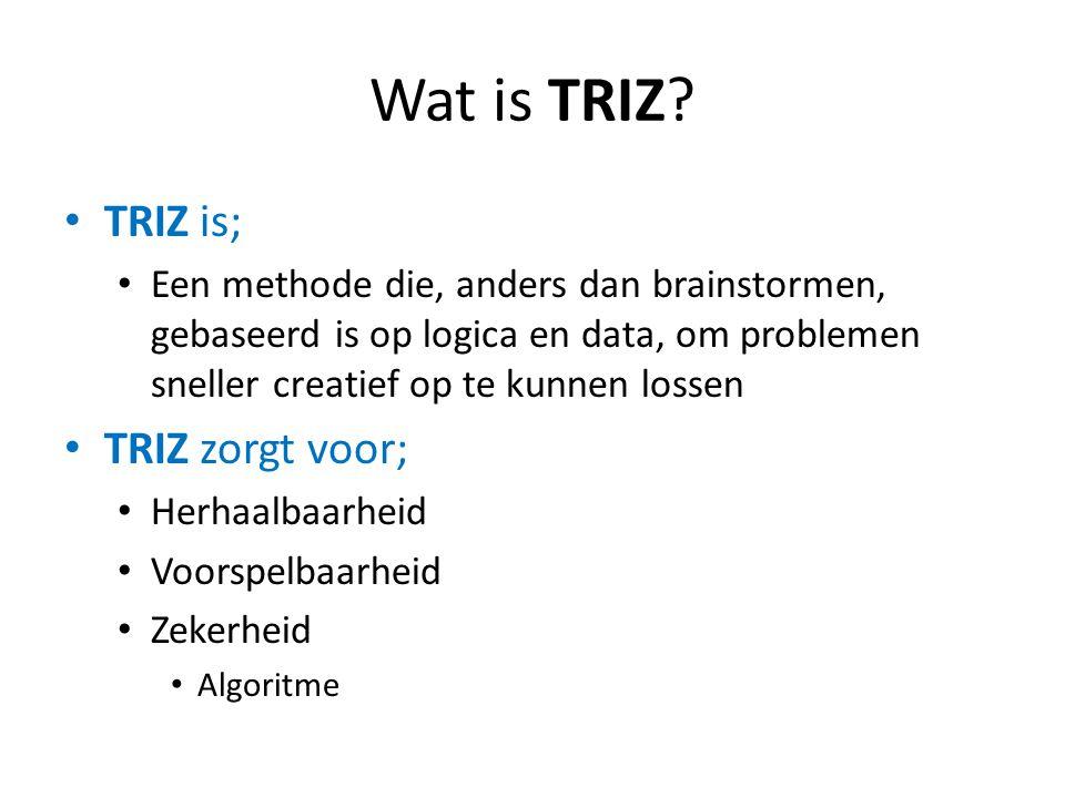 Wat is TRIZ? TRIZ is; Een methode die, anders dan brainstormen, gebaseerd is op logica en data, om problemen sneller creatief op te kunnen lossen TRIZ