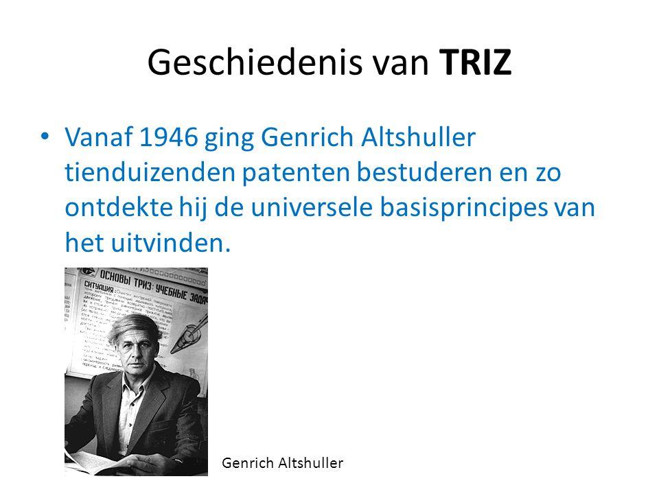 Geschiedenis van TRIZ Vanaf 1946 ging Genrich Altshuller tienduizenden patenten bestuderen en zo ontdekte hij de universele basisprincipes van het uit