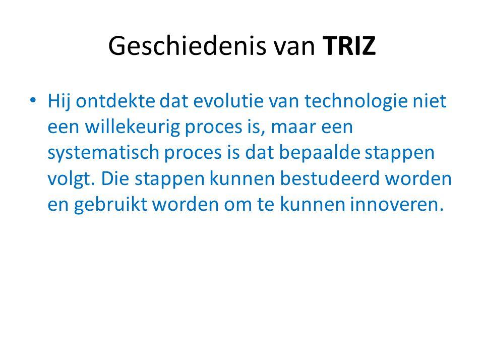 Geschiedenis van TRIZ Het uiteindelijke resultaat van al het onderzoek is de TRIZ methodiek met de: 39 Parameters of Contradiction (Tegenstellingen) 40 Inventive Principles (Oplossingen van de tegenstellingen) De tegenstellingen en oplossingen zijn uitgewerkt in een matrix