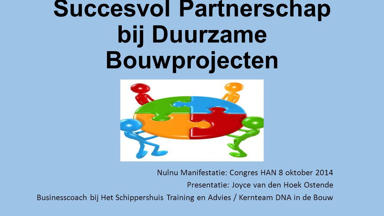 Succesvol Partnerschap bij Duurzame Bouwprojecten Nulnu Manifestatie: Congres HAN 8 oktober 2014 Presentatie: Joyce van den Hoek Ostende Businesscoach bij Het Schippershuis Training en Advies / Kernteam DNA in de Bouw