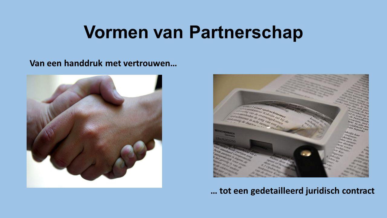 Vormen van Partnerschap Van een handdruk met vertrouwen… … tot een gedetailleerd juridisch contract