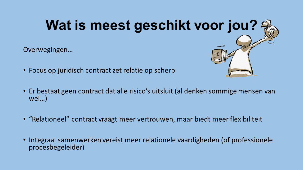 Wat is meest geschikt voor jou? Overwegingen… Focus op juridisch contract zet relatie op scherp Er bestaat geen contract dat alle risico's uitsluit (a