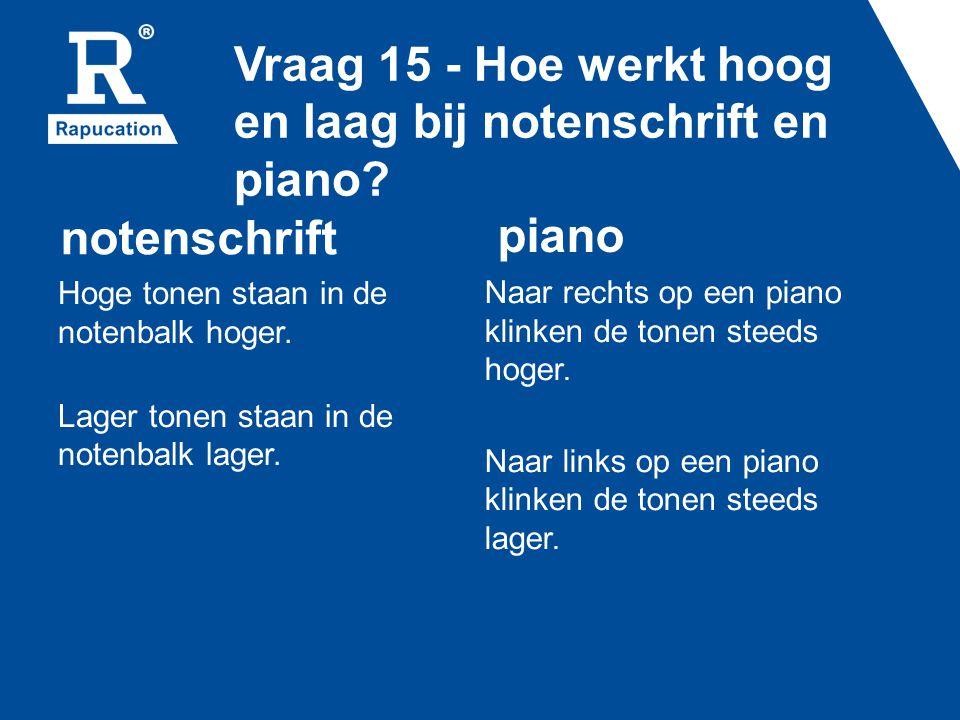 Vraag 15 - Hoe werkt hoog en laag bij notenschrift en piano? notenschrift Hoge tonen staan in de notenbalk hoger. Lager tonen staan in de notenbalk la