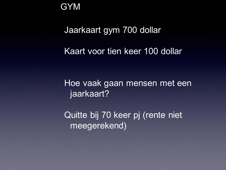 GYM Jaarkaart gym 700 dollar Kaart voor tien keer 100 dollar Hoe vaak gaan mensen met een jaarkaart.