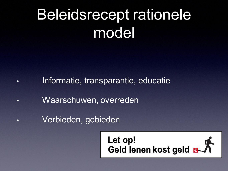 Beleidsrecept rationele model Informatie, transparantie, educatie Waarschuwen, overreden Verbieden, gebieden