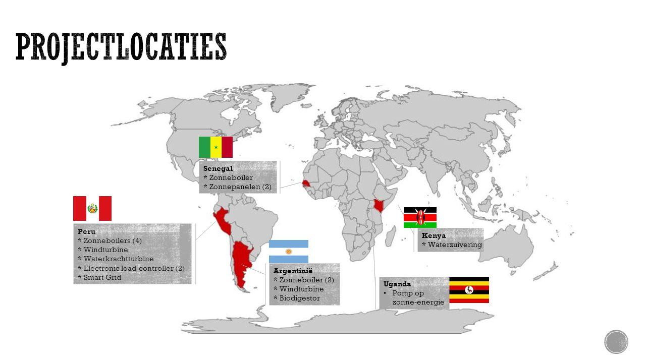 Peru * Zonneboilers (4) * Windturbine * Waterkrachtturbine * Electronic load controller (2) * Smart Grid Argentinië * Zonneboiler (2) * Windturbine * Biodigestor Senegal * Zonneboiler * Zonnepanelen (2) Kenya * Waterzuivering Uganda Pomp op zonne-energie