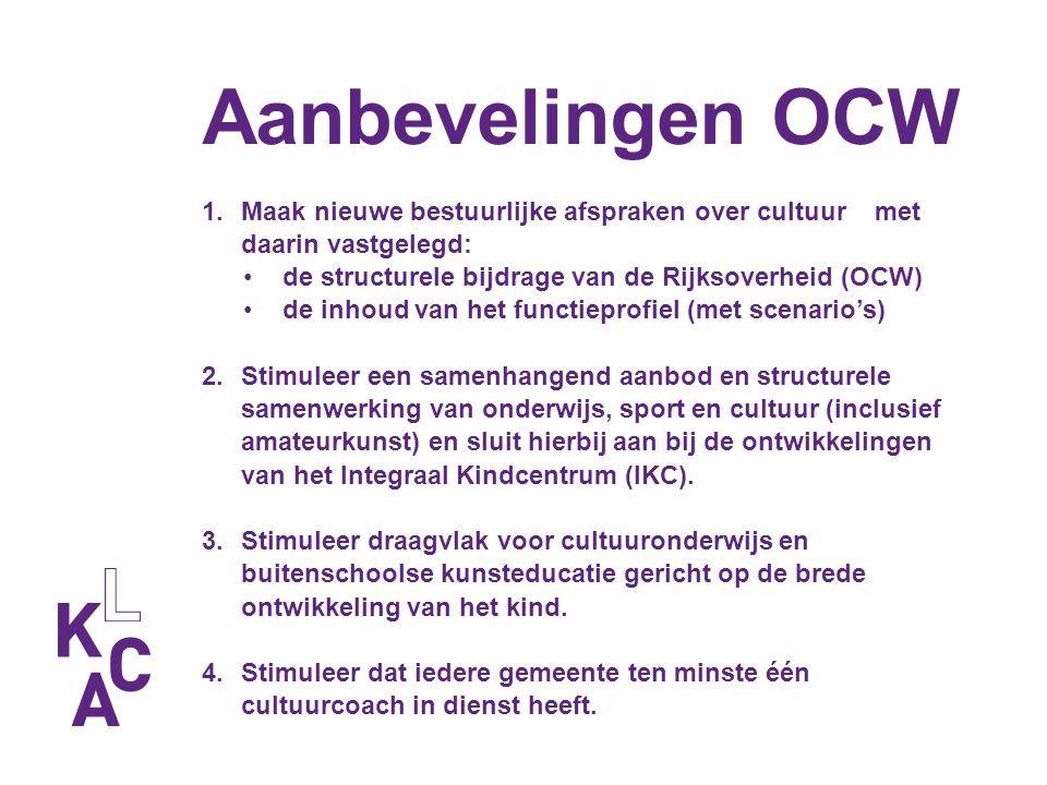 Aanbevelingen OCW 1.Maak nieuwe bestuurlijke afspraken over cultuur met daarin vastgelegd: de structurele bijdrage van de Rijksoverheid (OCW) de inhou