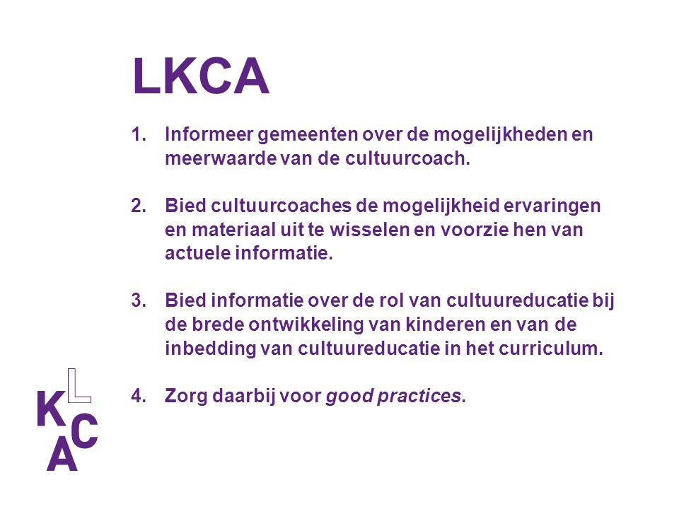 LKCA 1.Informeer gemeenten over de mogelijkheden en meerwaarde van de cultuurcoach. 2.Bied cultuurcoaches de mogelijkheid ervaringen en materiaal uit