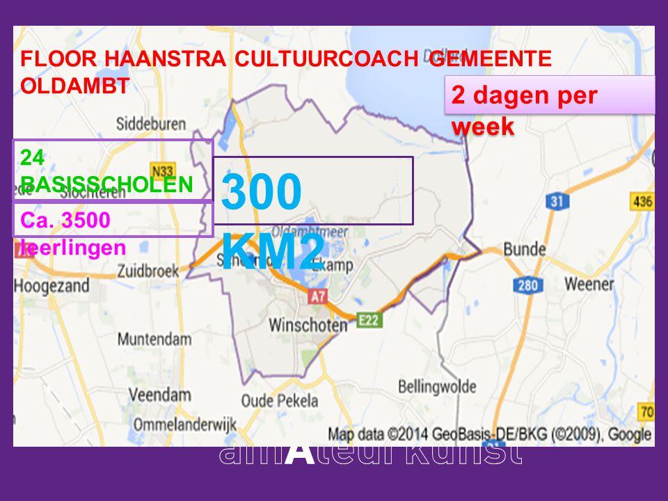 Floor Haanstra cultuurcoach gemeente Oldambt 24 basisscholen ca. 3500 leerlingen Oppervlakte gemeente 300 km2 FLOOR HAANSTRA CULTUURCOACH GEMEENTE OLD