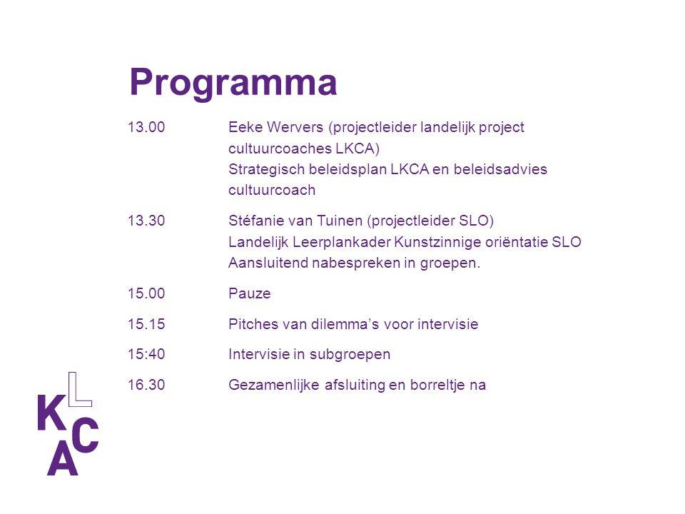 Programma 13.00 Eeke Wervers (projectleider landelijk project cultuurcoaches LKCA) Strategisch beleidsplan LKCA en beleidsadvies cultuurcoach 13.30Sté