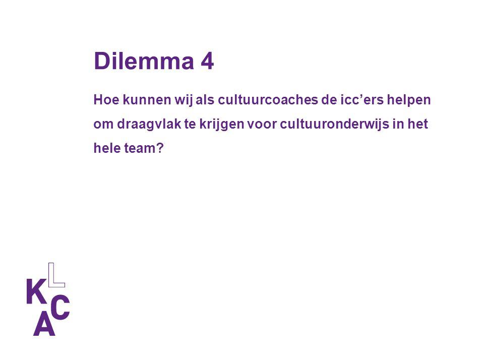 Dilemma 4 Hoe kunnen wij als cultuurcoaches de icc'ers helpen om draagvlak te krijgen voor cultuuronderwijs in het hele team?