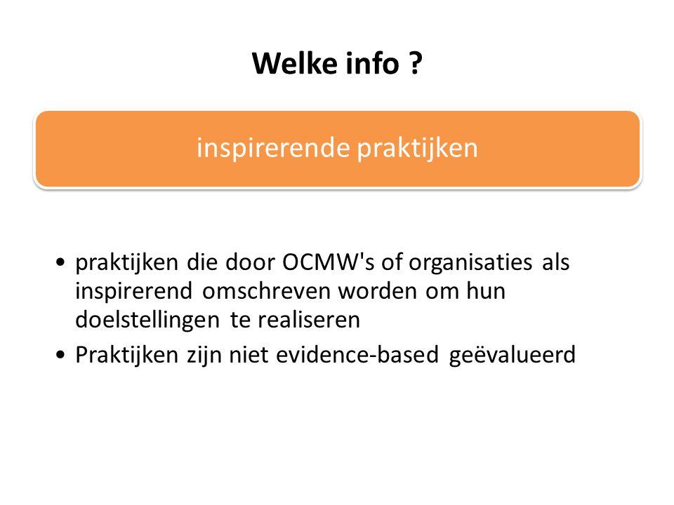 Welke info ? inspirerende praktijken praktijken die door OCMW's of organisaties als inspirerend omschreven worden om hun doelstellingen te realiseren