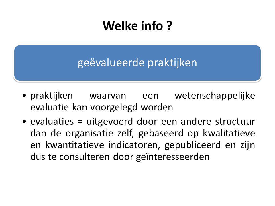 Welke info ? geëvalueerde praktijken praktijken waarvan een wetenschappelijke evaluatie kan voorgelegd worden evaluaties = uitgevoerd door een andere