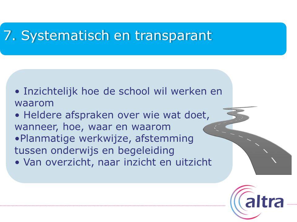 7. Systematisch en transparant Inzichtelijk hoe de school wil werken en waarom Heldere afspraken over wie wat doet, wanneer, hoe, waar en waarom Planm