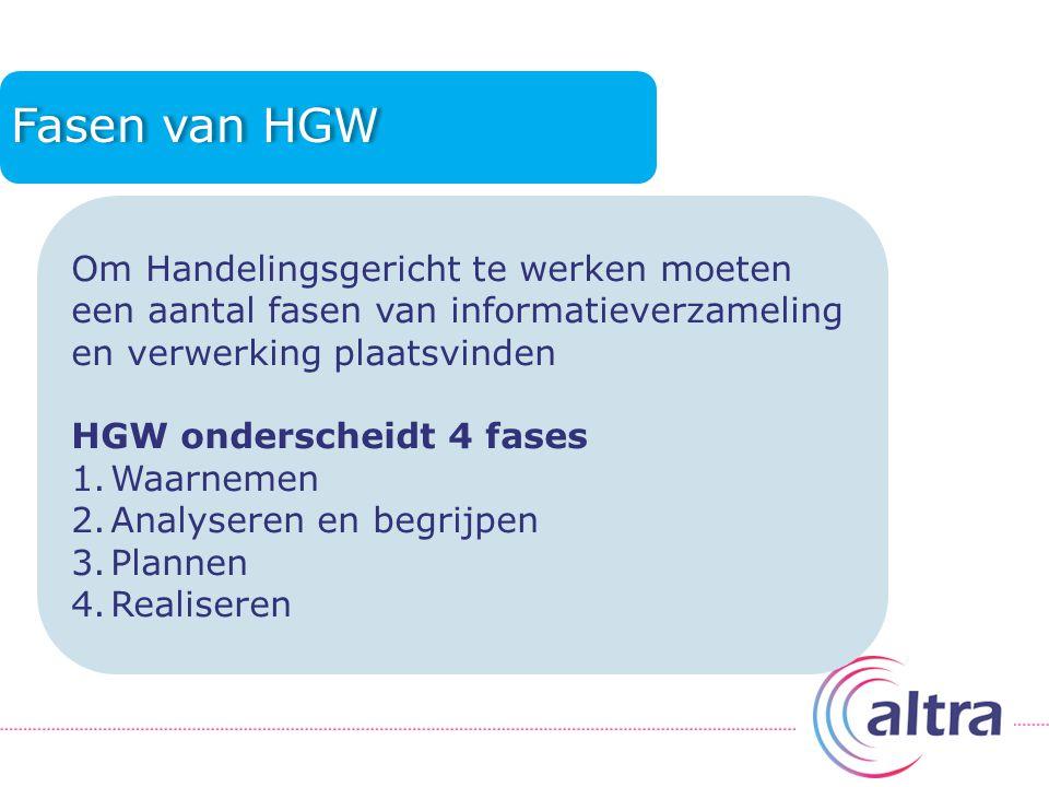Fasen van HGW Om Handelingsgericht te werken moeten een aantal fasen van informatieverzameling en verwerking plaatsvinden HGW onderscheidt 4 fases 1.Waarnemen 2.Analyseren en begrijpen 3.Plannen 4.Realiseren