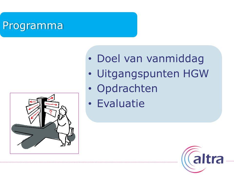 Programma Doel van vanmiddag Uitgangspunten HGW Opdrachten Evaluatie