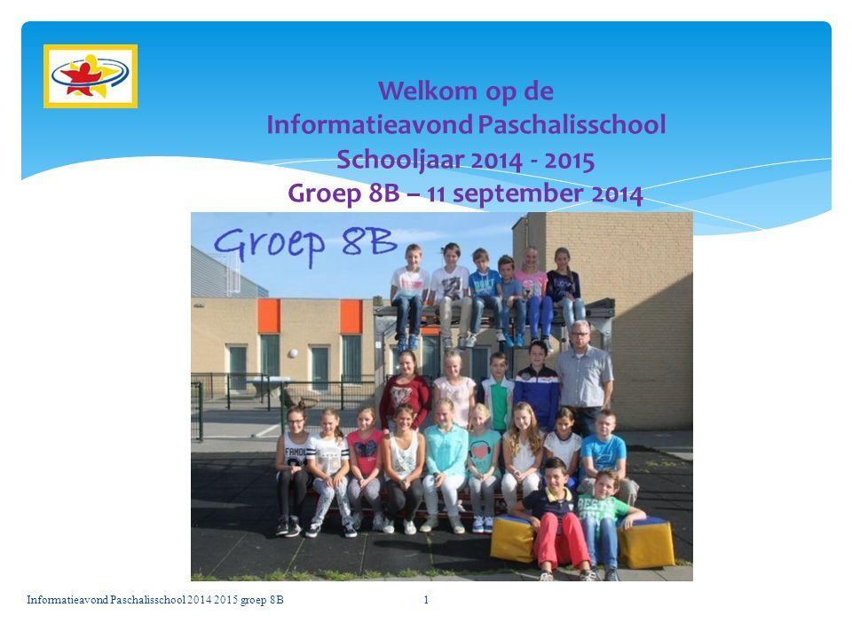 Informatieavond Paschalisschool 2014 2015 groep 8B1 Welkom op de Informatieavond Paschalisschool Schooljaar 2014 - 2015 Groep 8B – 11 september 2014