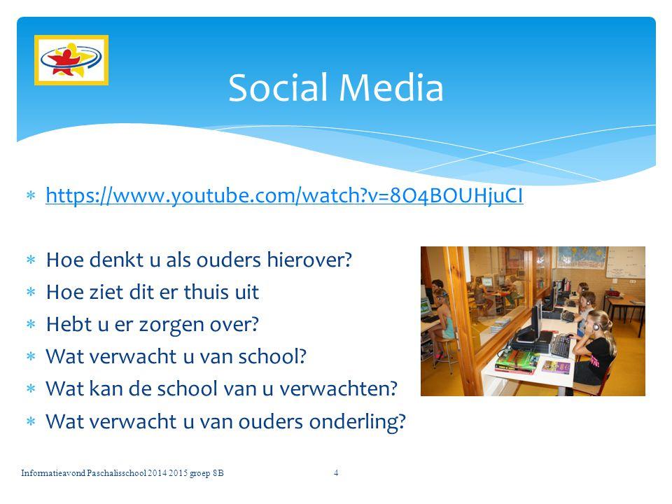 Informatieavond Paschalisschool 2014 2015 groep 8B15 Vragen?????