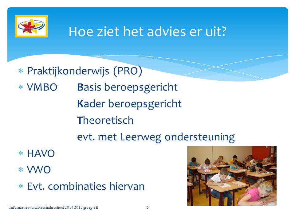  Praktijkonderwijs (PRO)  VMBO Basis beroepsgericht Kader beroepsgericht Theoretisch evt.