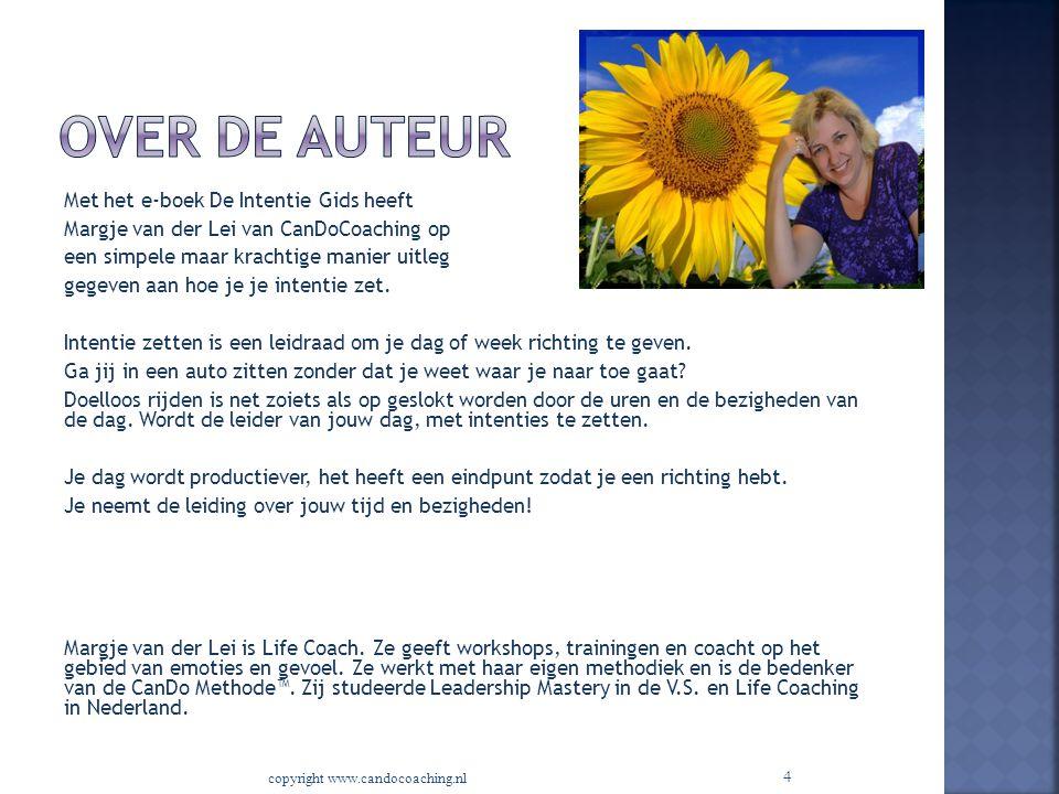 4 Met het e-boek De Intentie Gids heeft Margje van der Lei van CanDoCoaching op een simpele maar krachtige manier uitleg gegeven aan hoe je je intenti