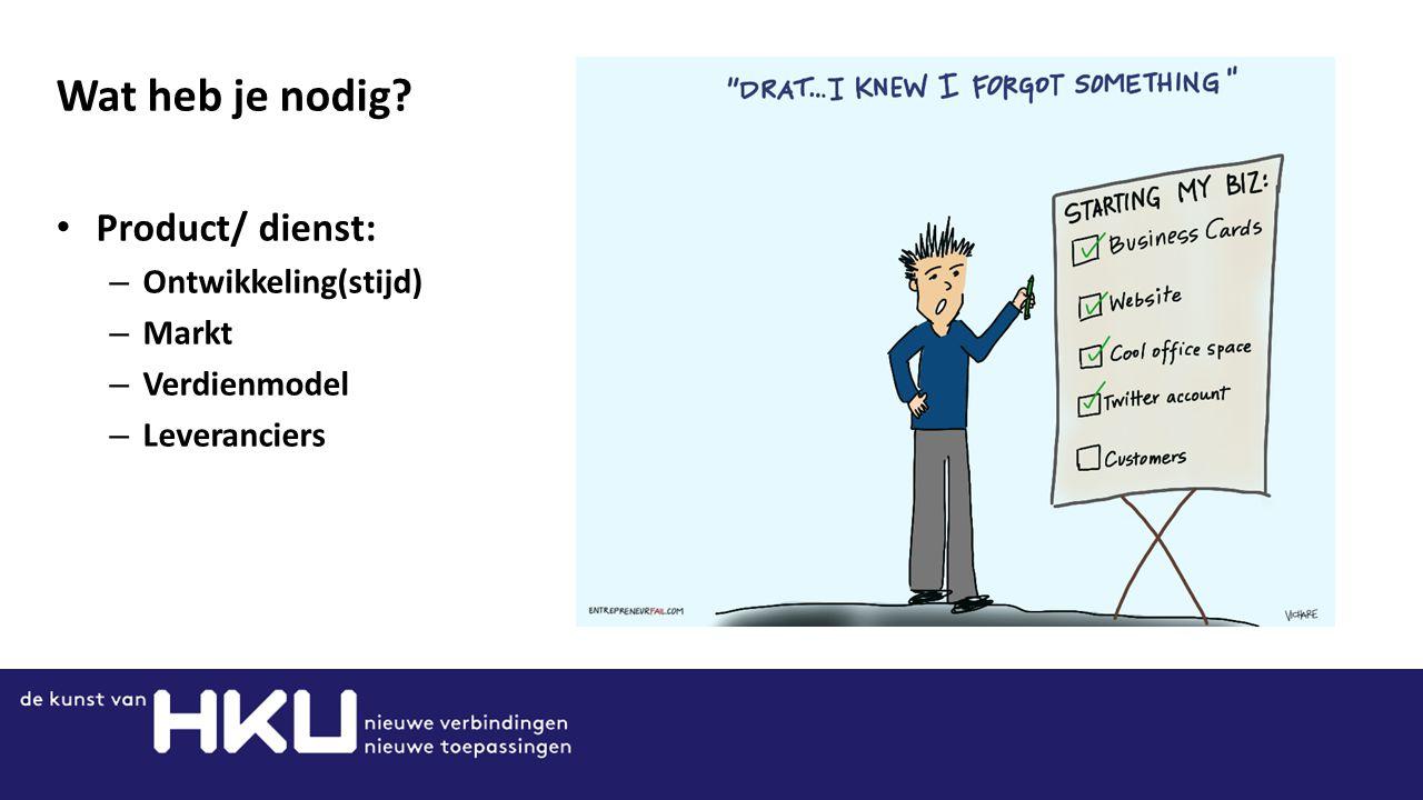 Wat heb je nodig? Product/ dienst: – Ontwikkeling(stijd) – Markt – Verdienmodel – Leveranciers
