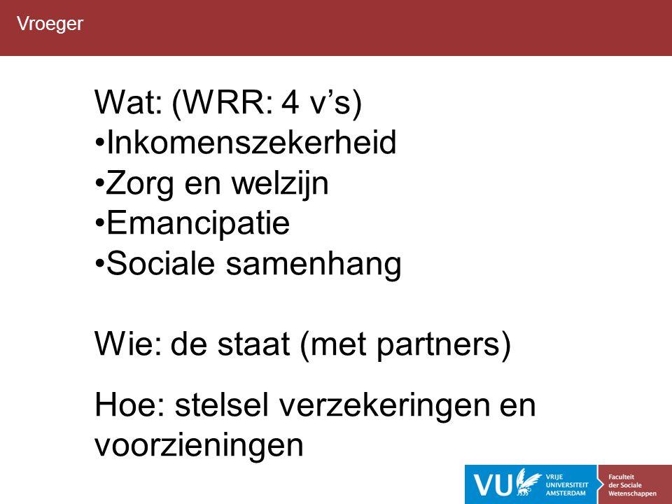 Vroeger Wat: (WRR: 4 v's) Inkomenszekerheid Zorg en welzijn Emancipatie Sociale samenhang Wie: de staat (met partners) Hoe: stelsel verzekeringen en voorzieningen
