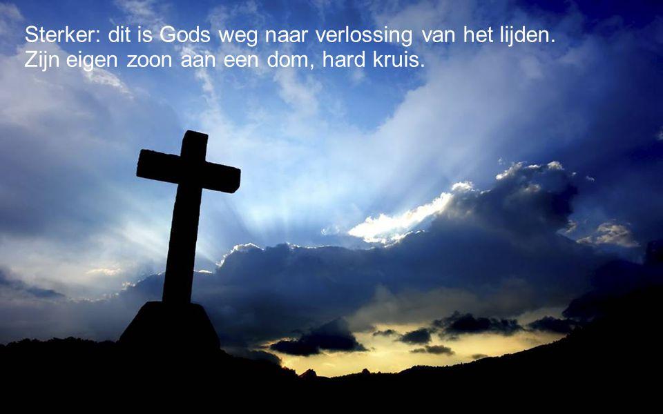 Sterker: dit is Gods weg naar verlossing van het lijden. Zijn eigen zoon aan een dom, hard kruis.