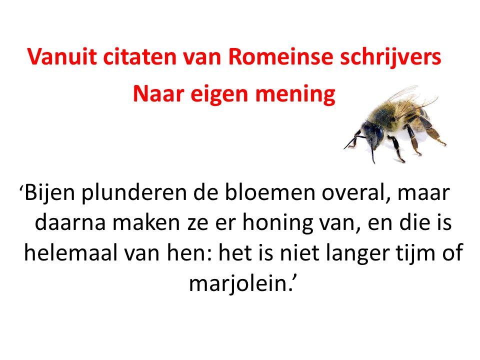 Vanuit citaten van Romeinse schrijvers Naar eigen mening ' Bijen plunderen de bloemen overal, maar daarna maken ze er honing van, en die is helemaal v