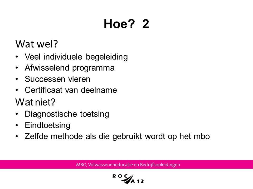 Hoe? 2 Wat wel? Veel individuele begeleiding Afwisselend programma Successen vieren Certificaat van deelname Wat niet? Diagnostische toetsing Eindtoet