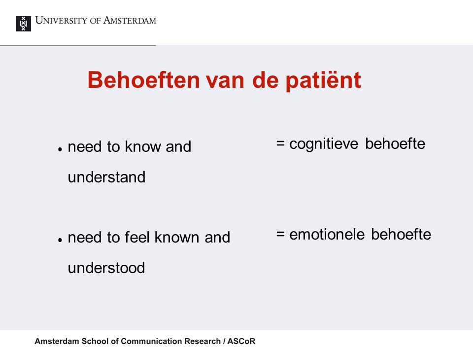 Behoeften van de patiënt need to know and understand need to feel known and understood = cognitieve behoefte = emotionele behoefte