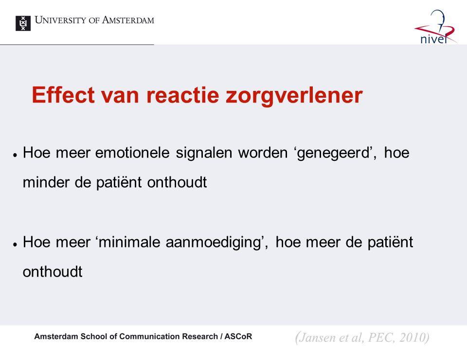 Effect van reactie zorgverlener Hoe meer emotionele signalen worden 'genegeerd', hoe minder de patiënt onthoudt Hoe meer 'minimale aanmoediging', hoe meer de patiënt onthoudt