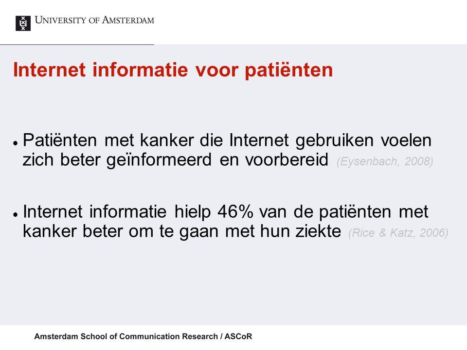 Internet informatie voor patiënten Patiënten met kanker die Internet gebruiken voelen zich beter geïnformeerd en voorbereid (Eysenbach, 2008) Internet informatie hielp 46% van de patiënten met kanker beter om te gaan met hun ziekte (Rice & Katz, 2006)