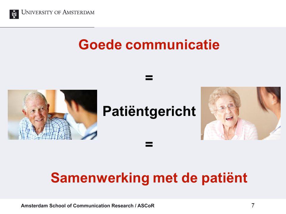 Goede communicatie = Patiëntgericht = Samenwerking met de patiënt 7