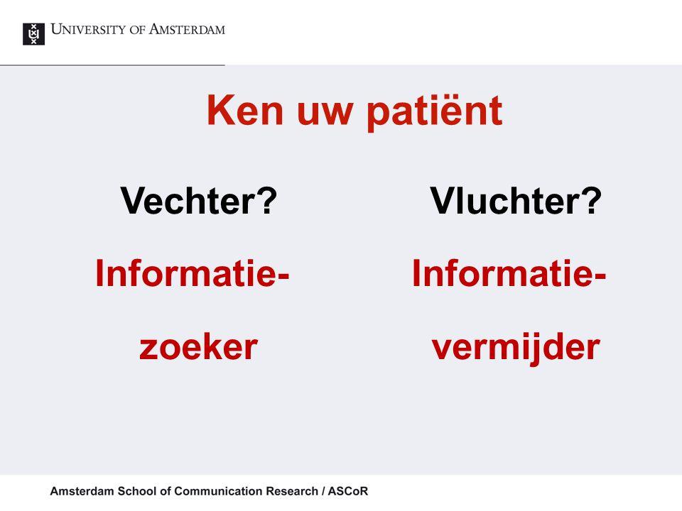 Algemene communicatiebehoeften % (zeer) belangrijk (mean score > 2,5) (van Weert et al., PEC, 2013)