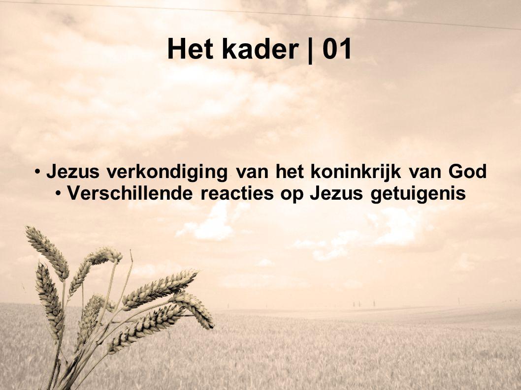 Het kader | 01 Jezus verkondiging van het koninkrijk van God Verschillende reacties op Jezus getuigenis