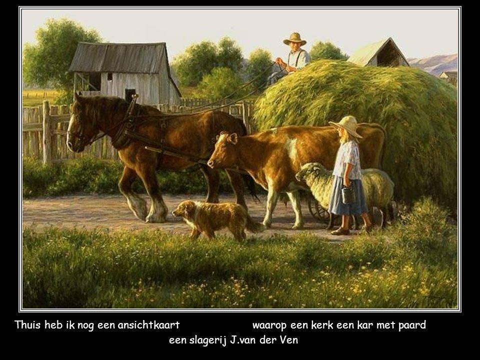 Thuis heb ik nog een ansichtkaartwaarop een kerk een kar met paard een slagerij J.van der Ven