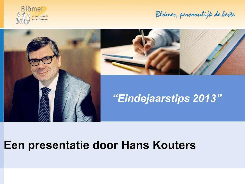 """""""Eindejaarstips 2013"""" Een presentatie door Hans Kouters"""