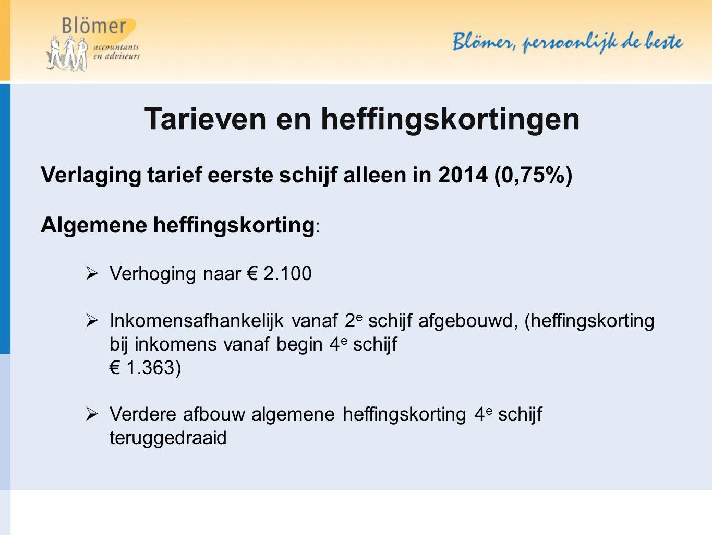 Tarieven en heffingskortingen Verlaging tarief eerste schijf alleen in 2014 (0,75%) Algemene heffingskorting :  Verhoging naar € 2.100  Inkomensafha