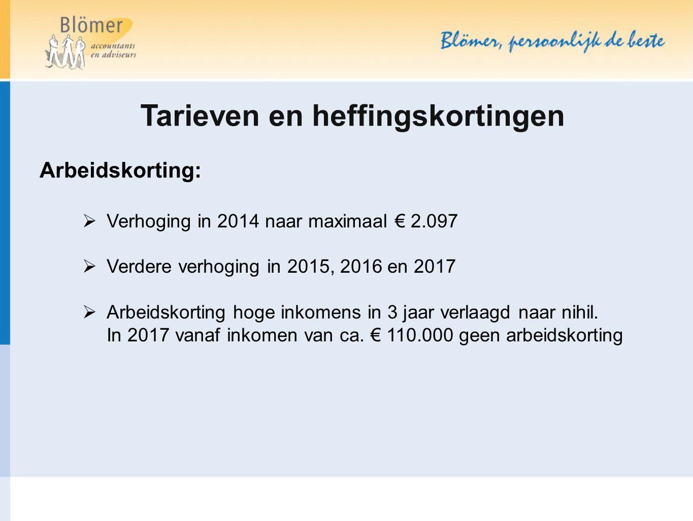 Tarieven en heffingskortingen Arbeidskorting:  Verhoging in 2014 naar maximaal € 2.097  Verdere verhoging in 2015, 2016 en 2017  Arbeidskorting hog