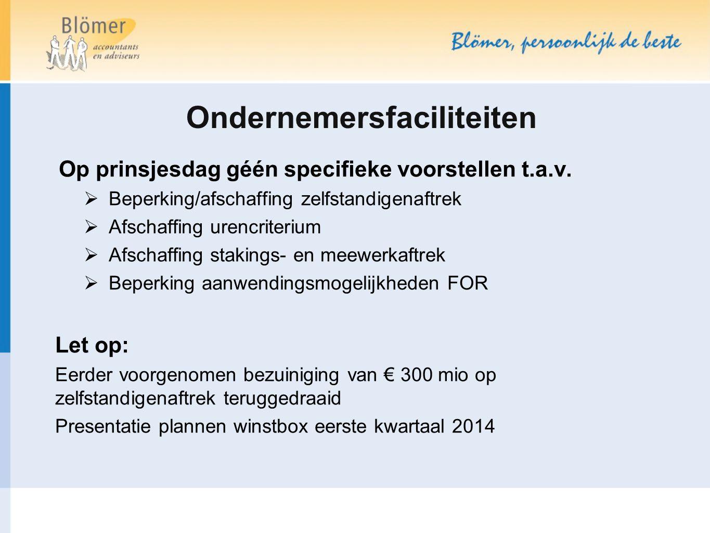 Ondernemersfaciliteiten Op prinsjesdag géén specifieke voorstellen t.a.v.  Beperking/afschaffing zelfstandigenaftrek  Afschaffing urencriterium  Af