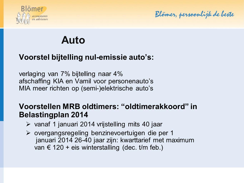Auto Voorstel bijtelling nul-emissie auto's: verlaging van 7% bijtelling naar 4% afschaffing KIA en Vamil voor personenauto's MIA meer richten op (sem
