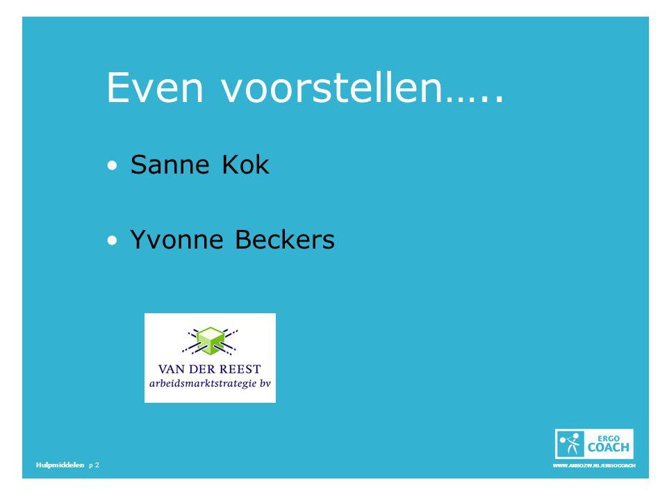 WWW.ARBOZW.NL/ERGOCOACH Hulpmiddelen p 2 Even voorstellen….. Sanne Kok Yvonne Beckers