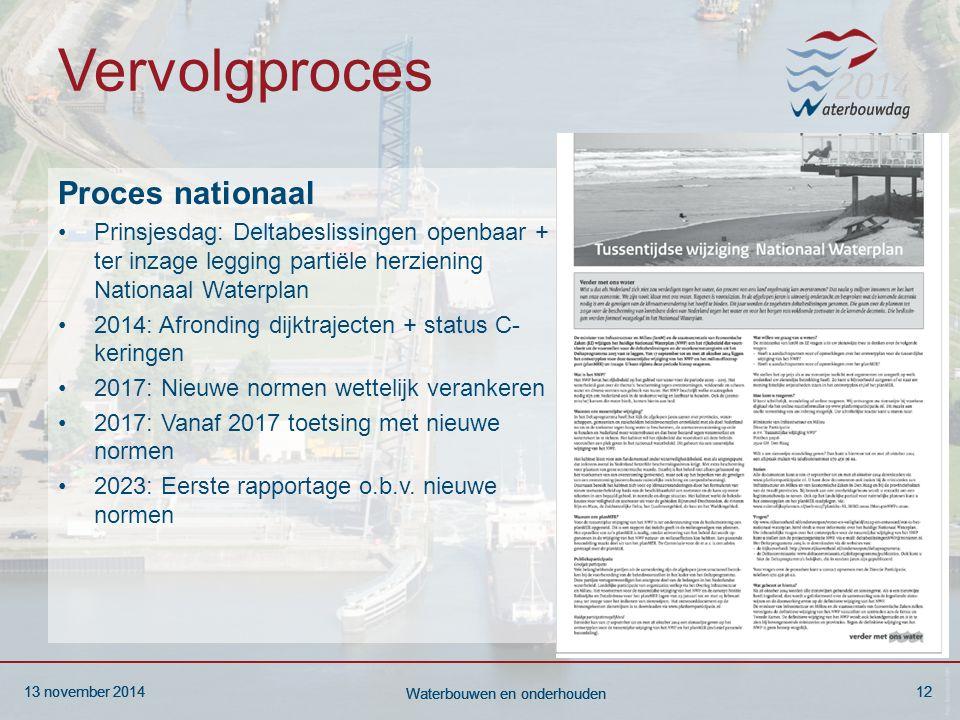 13 november 201412 Waterbouwen en onderhouden 13 november 201412 Waterbouwen en onderhouden 13 november 201412 Waterbouwen en onderhouden Vervolgproce