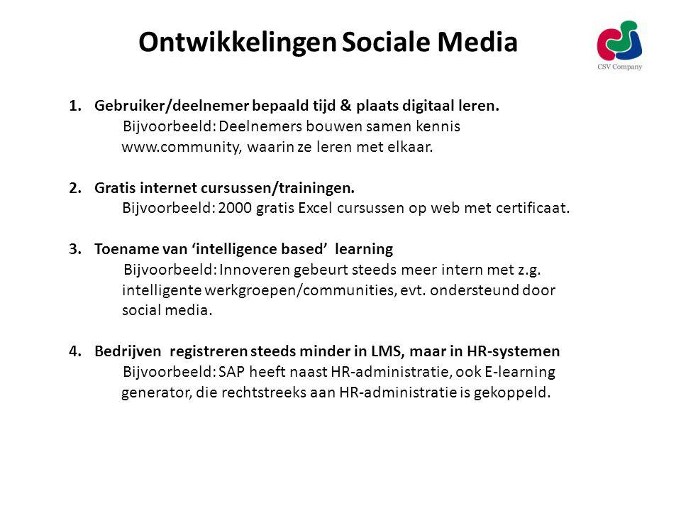 Ontwikkelingen Sociale Media 1.Gebruiker/deelnemer bepaald tijd & plaats digitaal leren.